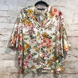 Zara | Floral Button Front Blouse Top Small